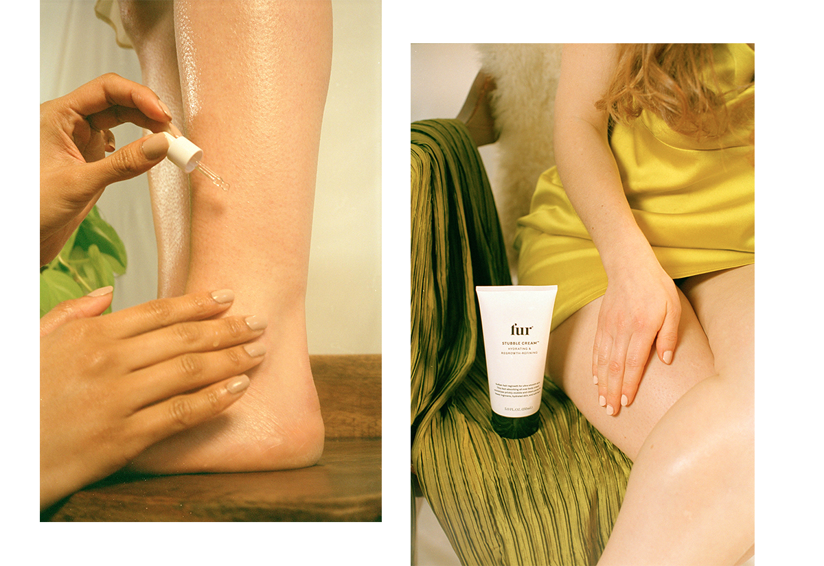 Woman applying Ingrown Concentrate oil to legs.