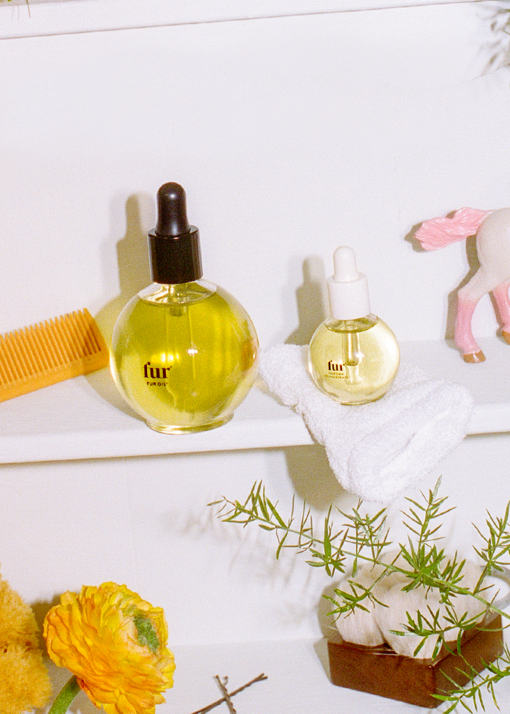Fur Oil and Ingrown Concentrate on a white shelf with a comb, plants, and a toy horse.