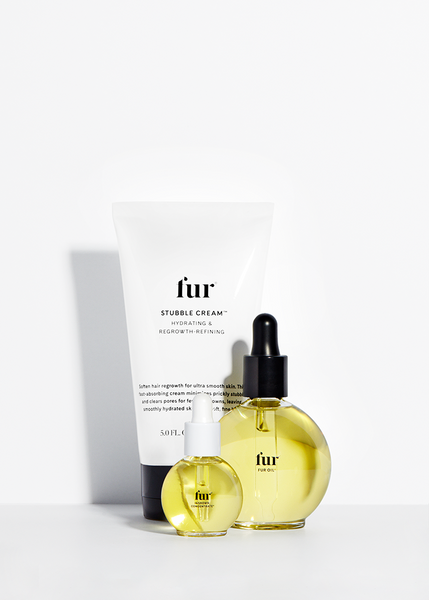 Fur Oil, Ingrown Concentrate, and Stubble Cream against a white background.