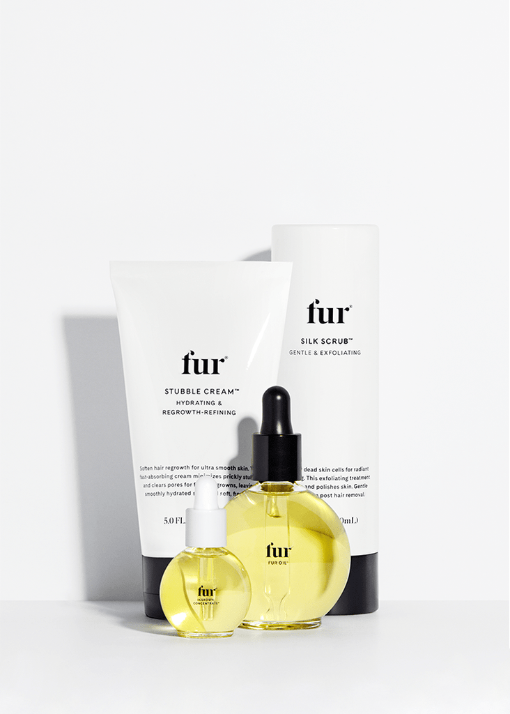 Fur Oil, Ingrown Concentrate, Silk Scrub, and Stubble Cream against a white background.