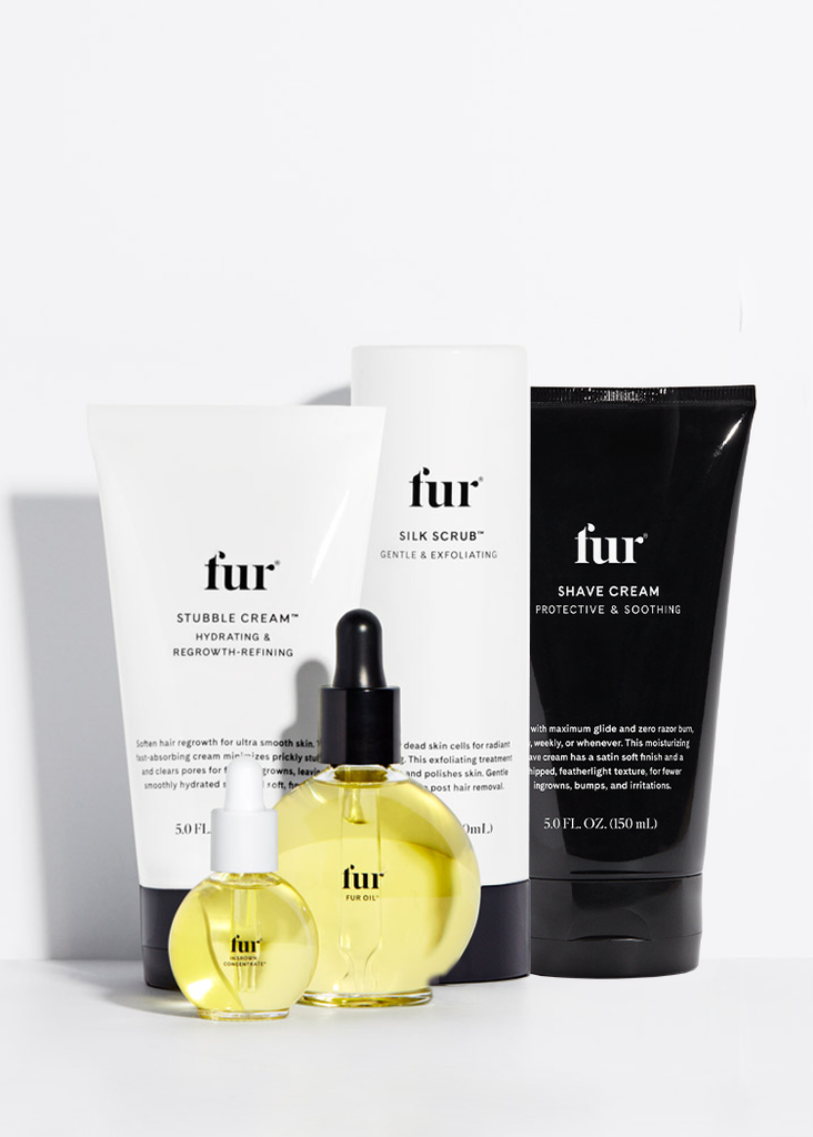 Fur Oil, Stubble Cream, Ingrown Concentrate, Silk Scrub, and Shave Cream.