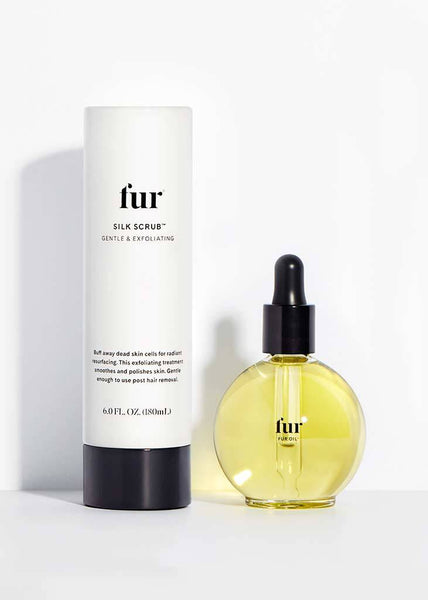 Fur Oil and Silk Scrub against a white background