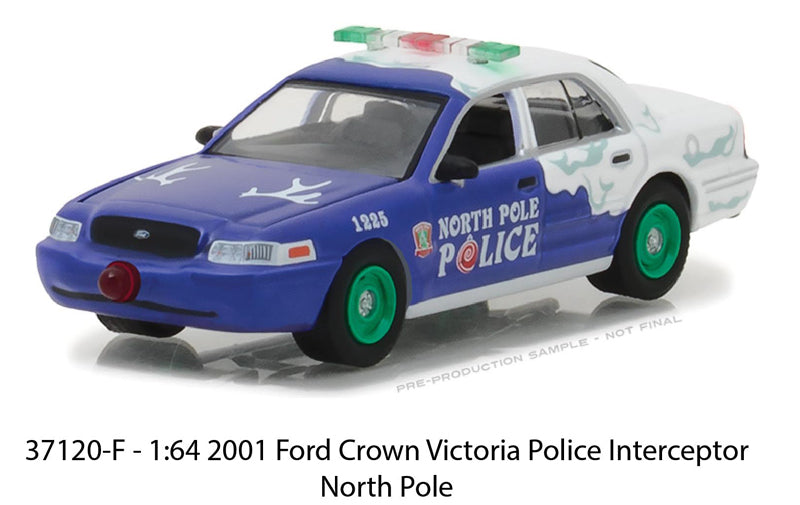 Ford Crown Victoria Police Interceptor North Pole Greenlight Holiday Ornaments Series 2 1/64