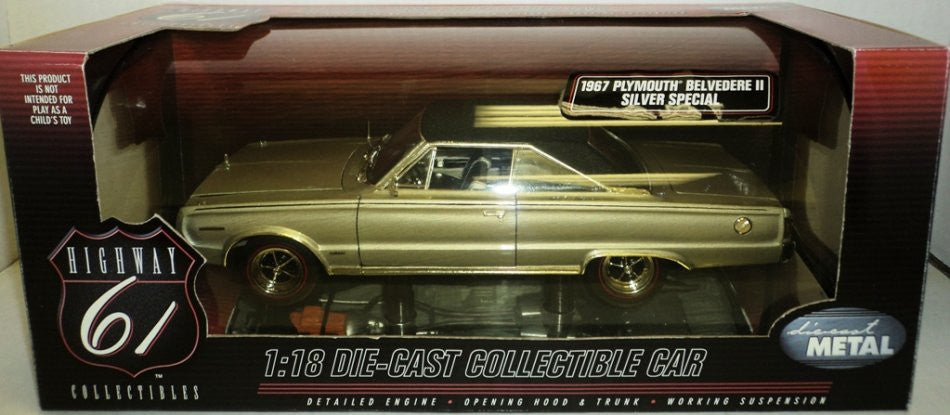 Plymouth Belvedere II Silver Special 1967 Highway 61 1/18