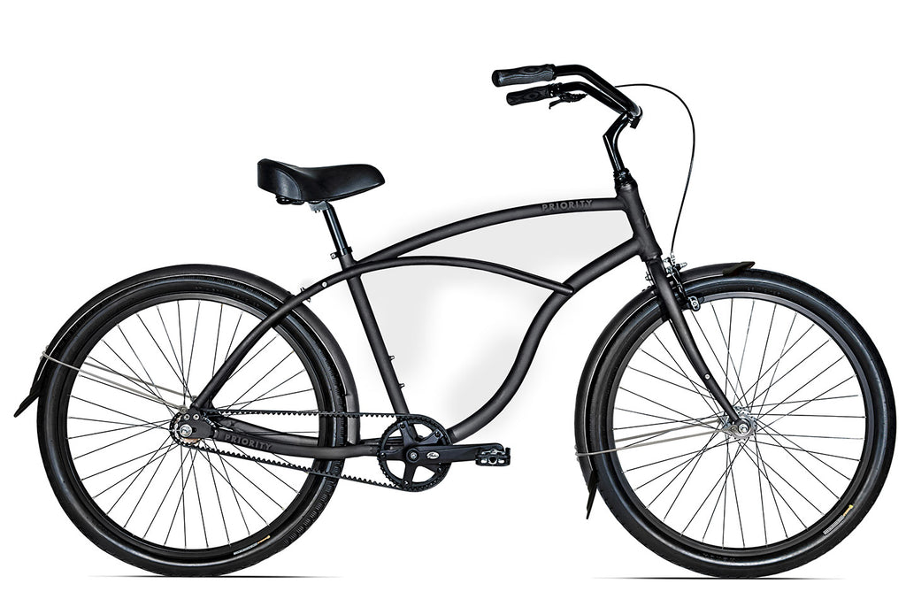 black mens belt drive cruiser bike
