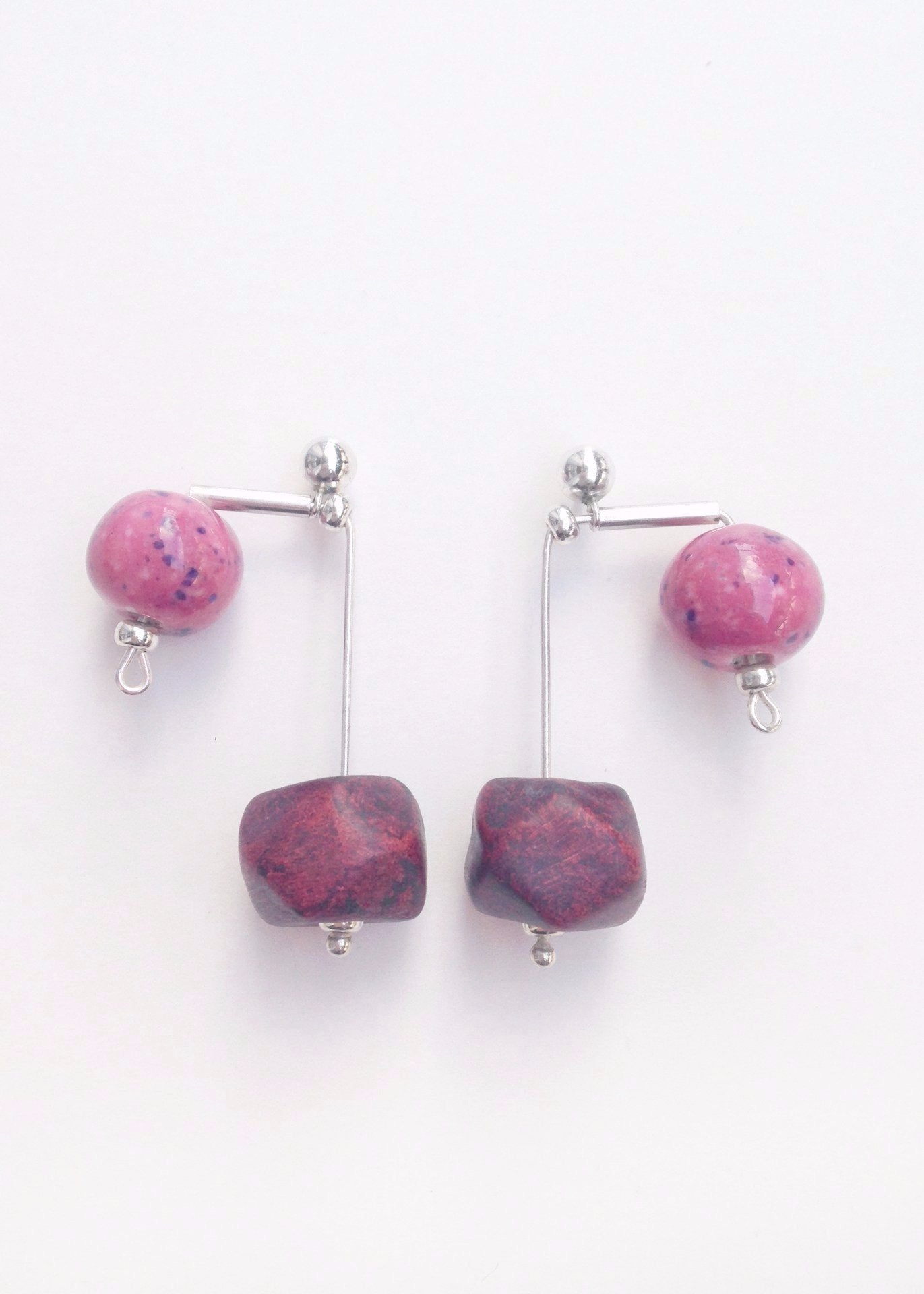 Cora - Ceramic Beads and Silver Earrings