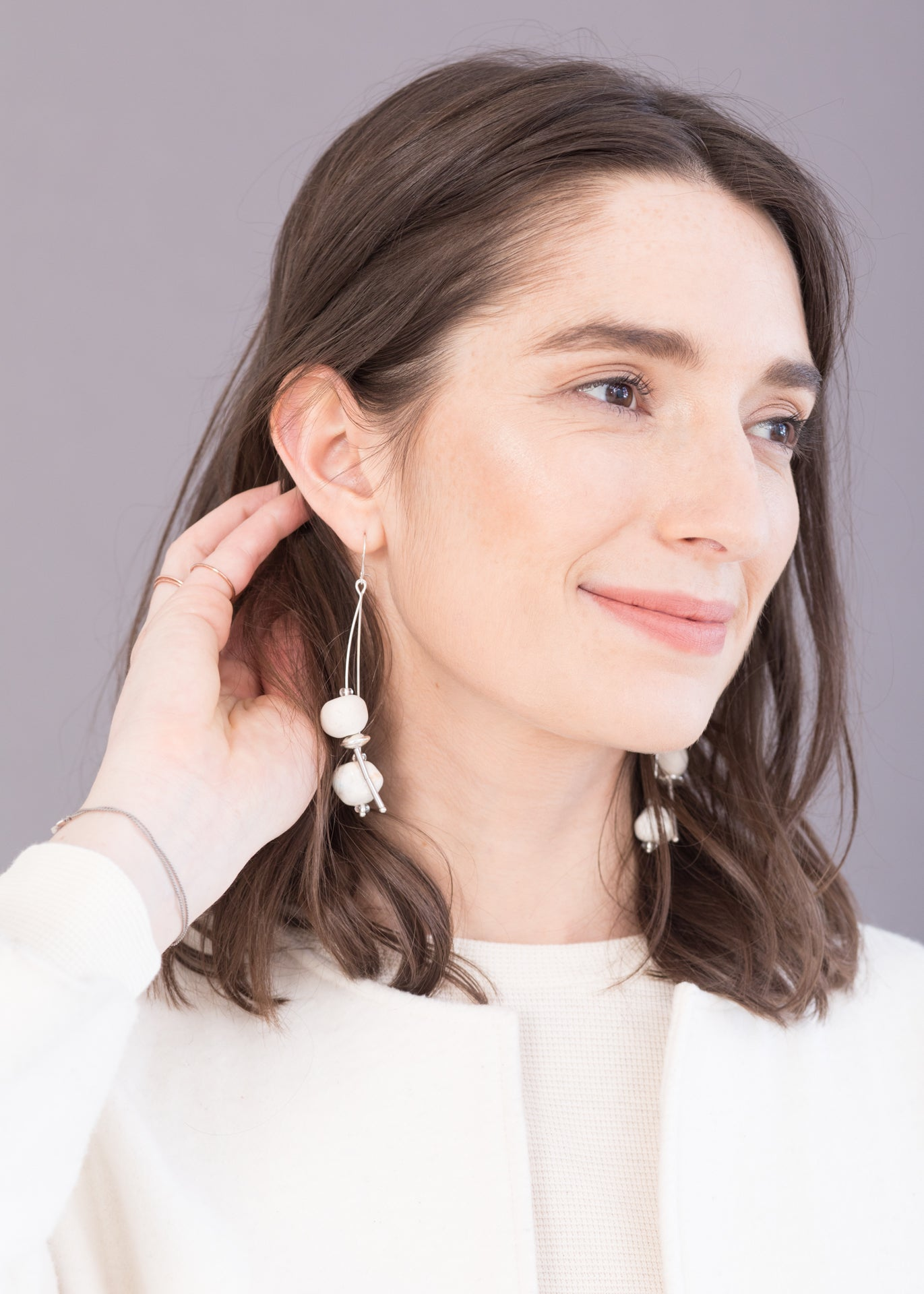 Mira - Ceramic Beads and Silver Earrings