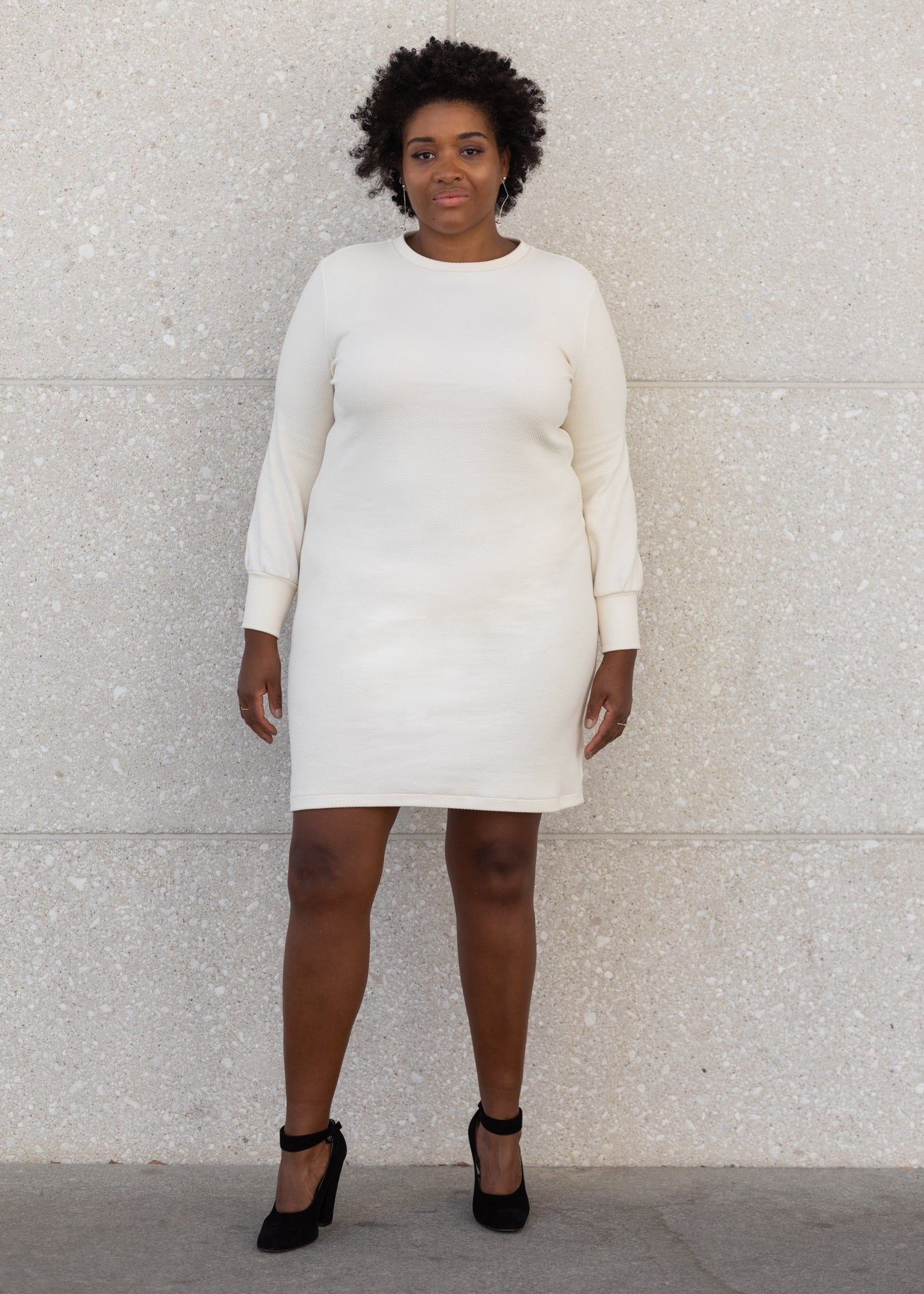 Tana - Sweater Dress in Ivory Jacquard