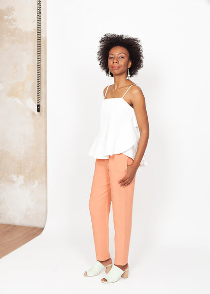 Cecil - Slim-leg Pants in Coral