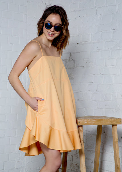 Apricot - Organic cotton dress with ruffles