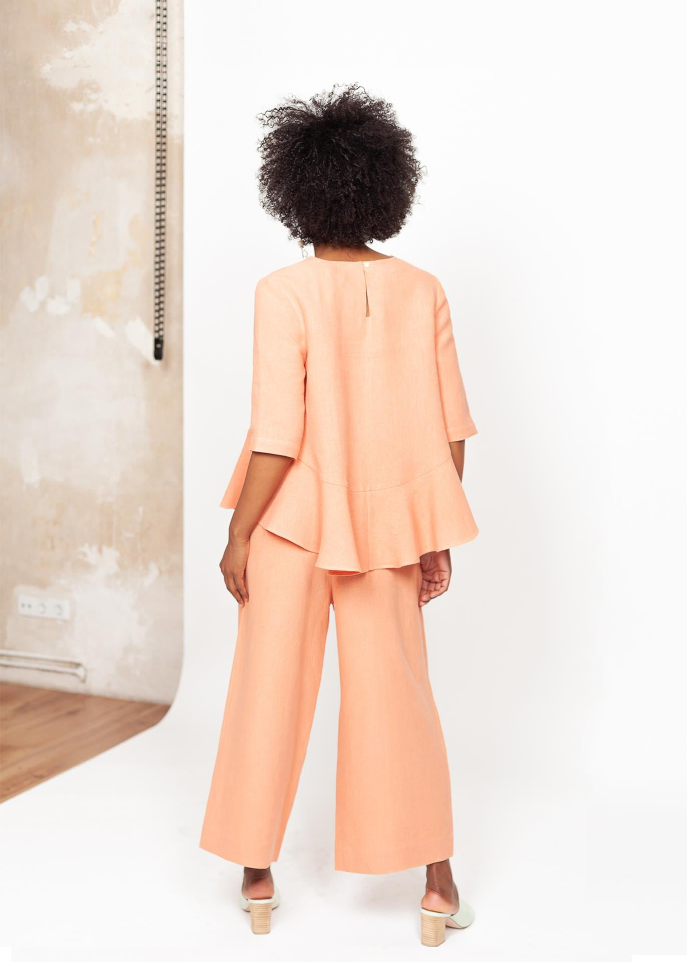 Triadic II – Wide-Leg Pants in Coral