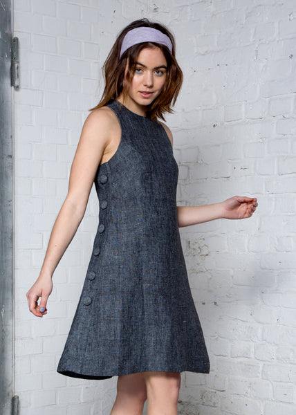 Black hemp chambray  halter dress