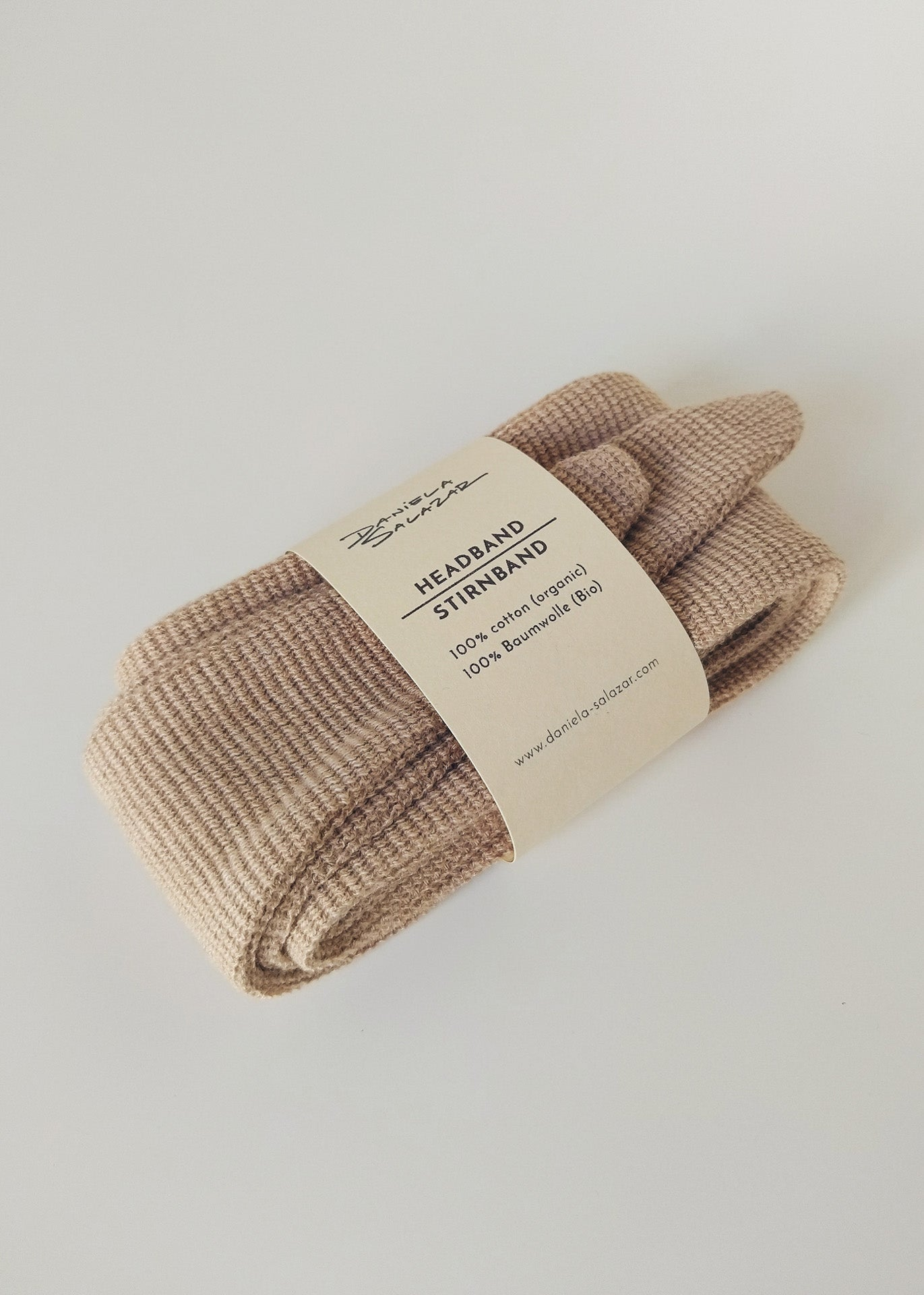 Organic Cotton Top Knot Headband - Camel