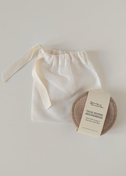 Organic Cotton Face Pads & Pouch - Camel