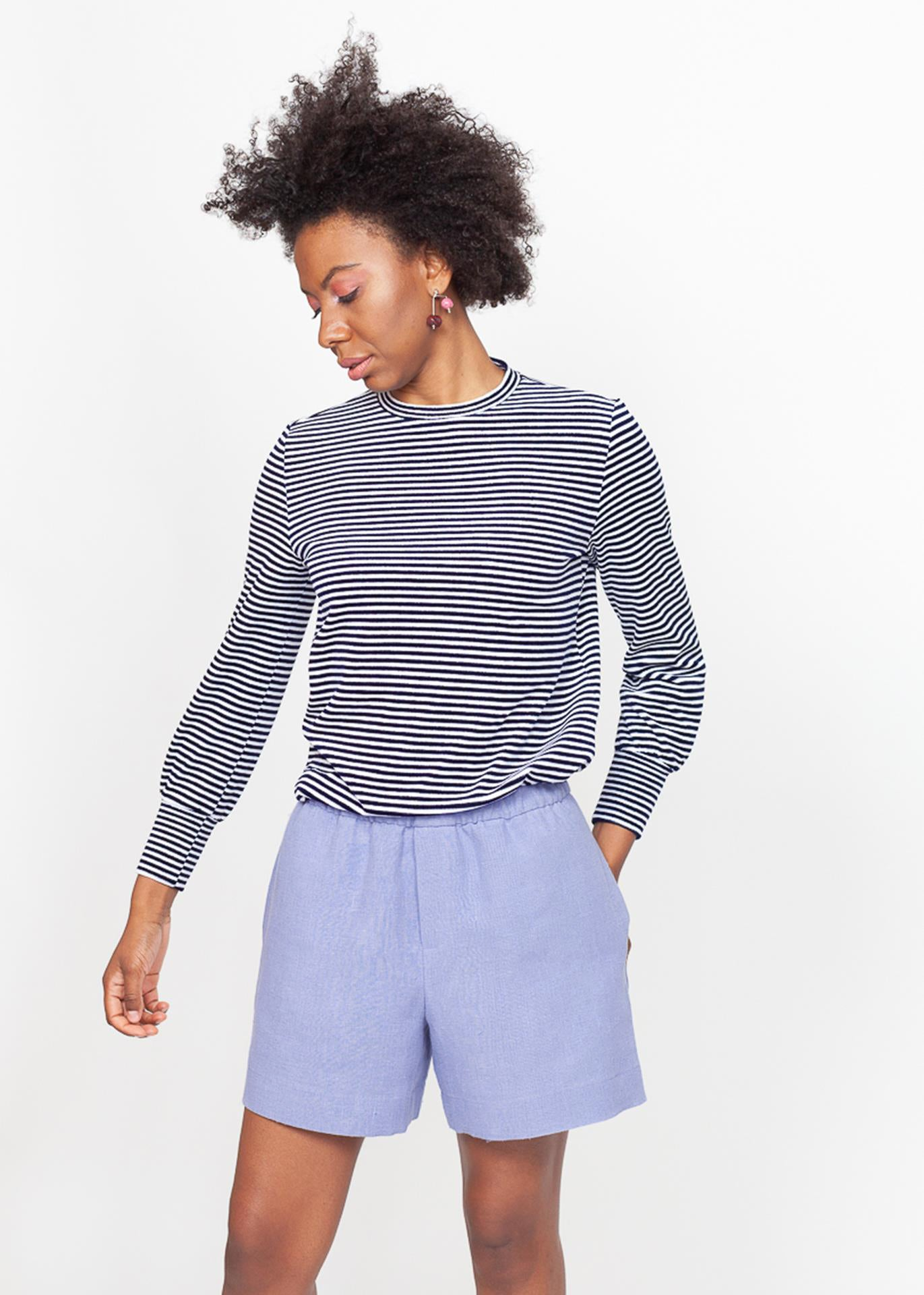 Nicole - Jersey Top in Striped Velour