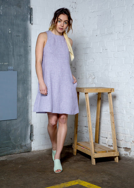 Lavender hemp chambray  halter dress