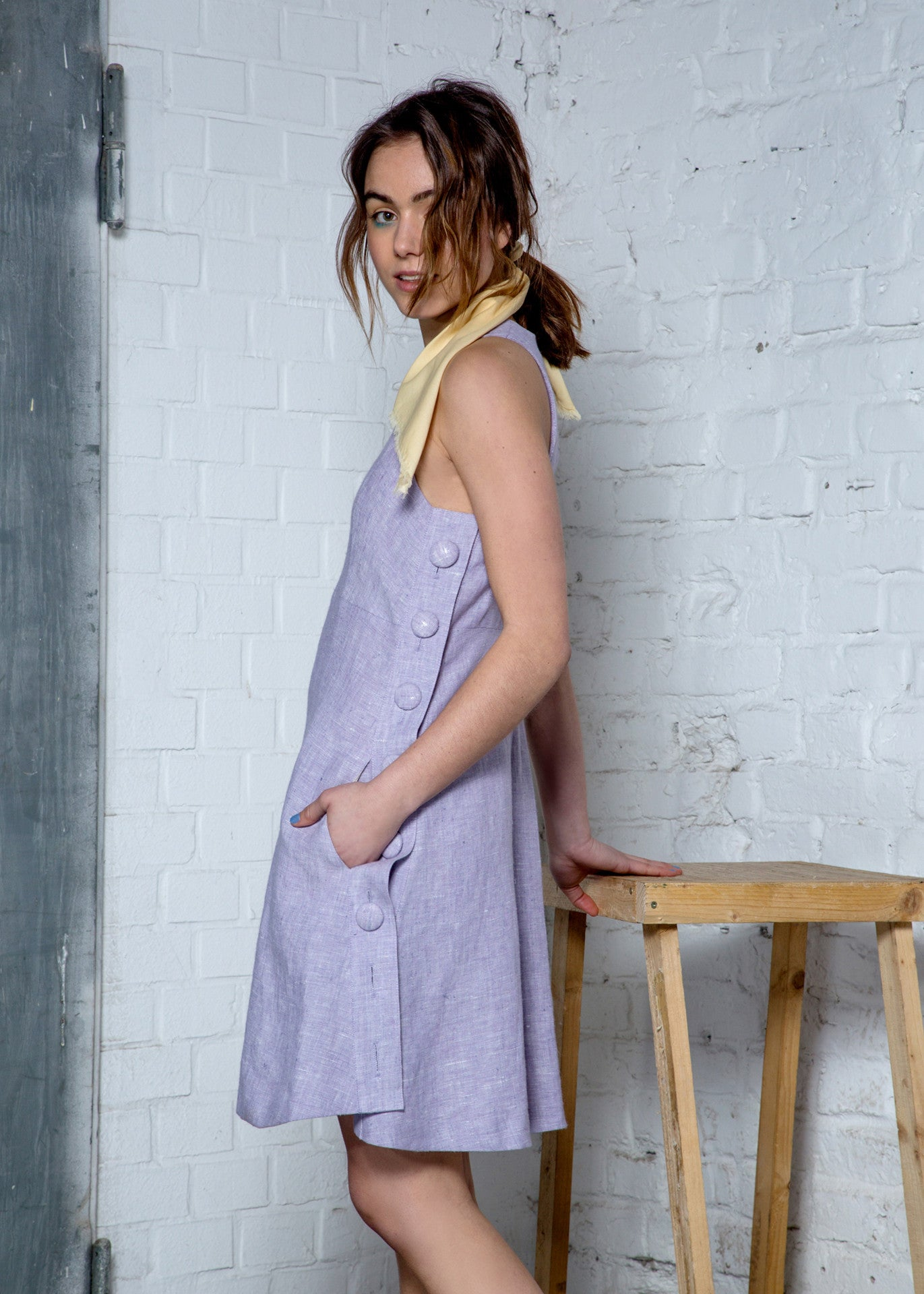 Lavender hemp halter dress