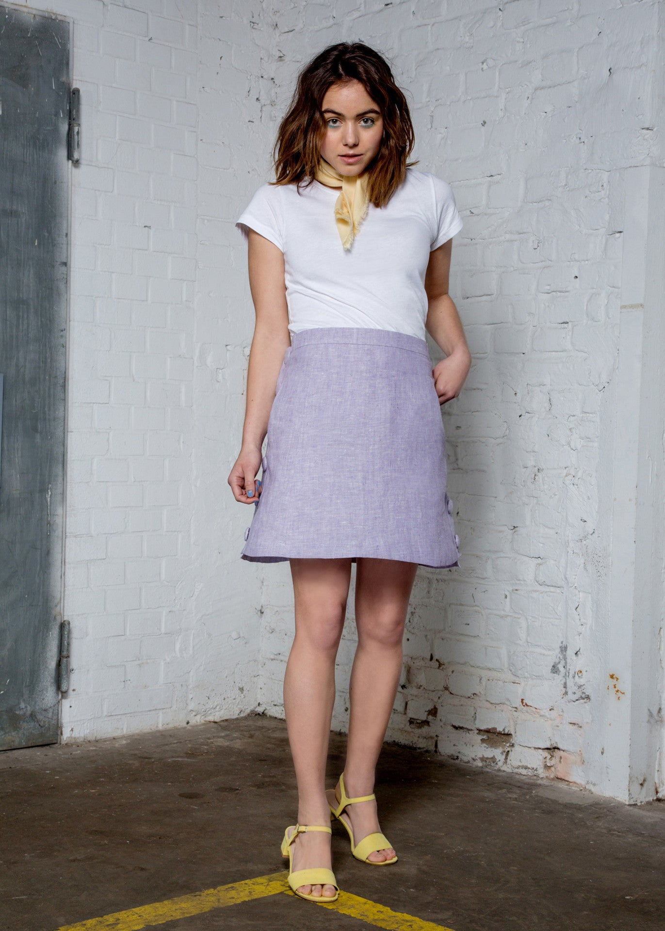 Lavender high waisted mini skirt