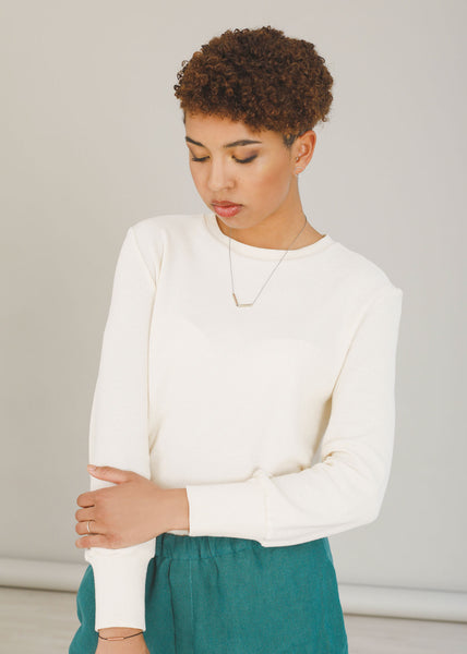 Nicole - Jersey Top in Ivory