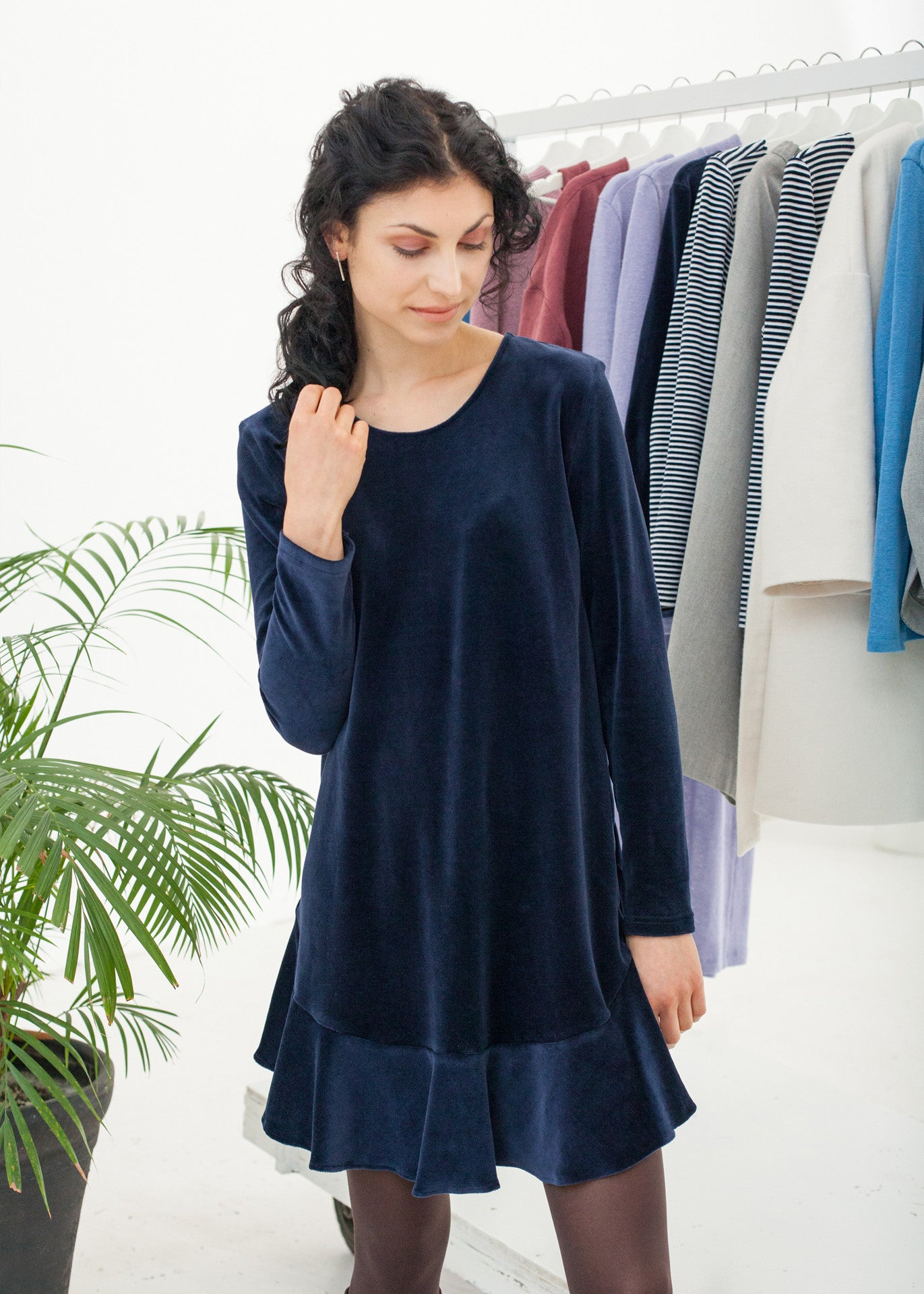 Midnight - Navy Velour Dress
