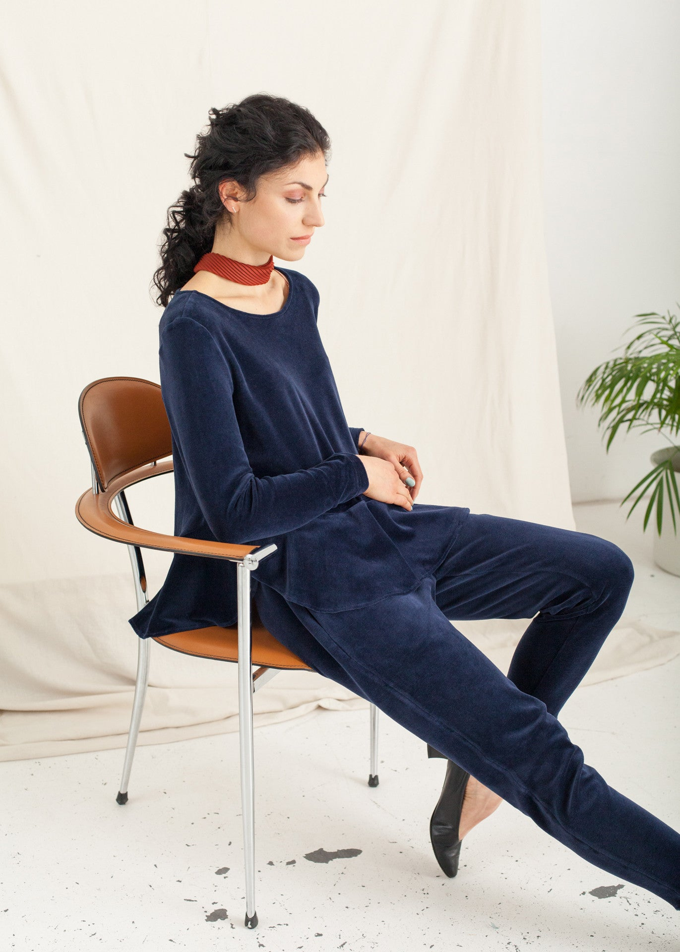 Midnight – Navy Velour Top