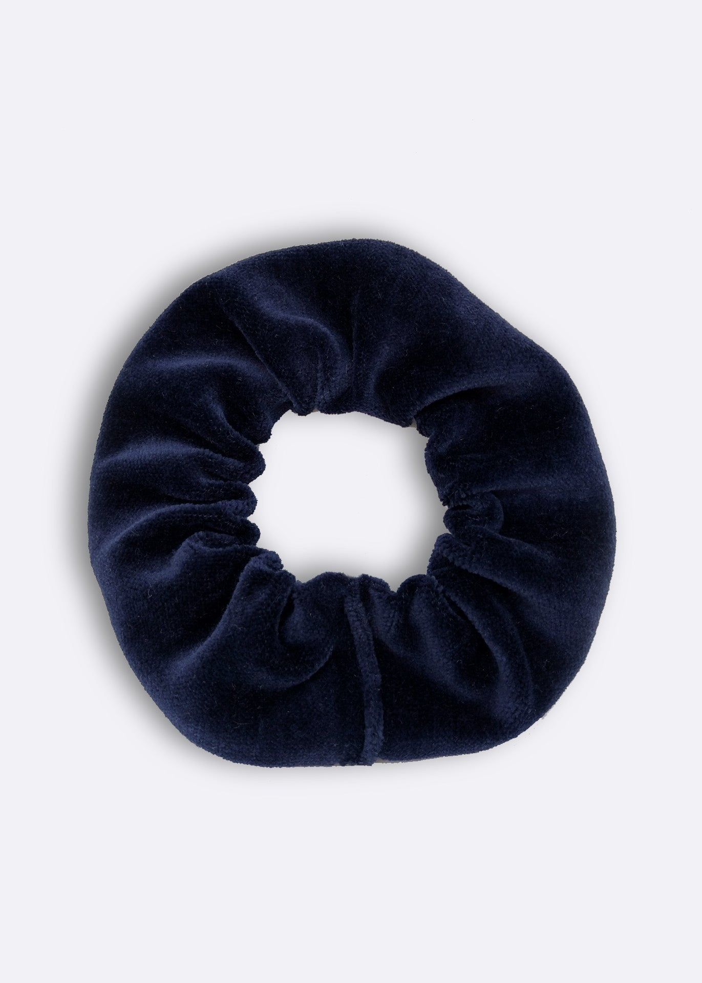 Navy Velour Scrunchie