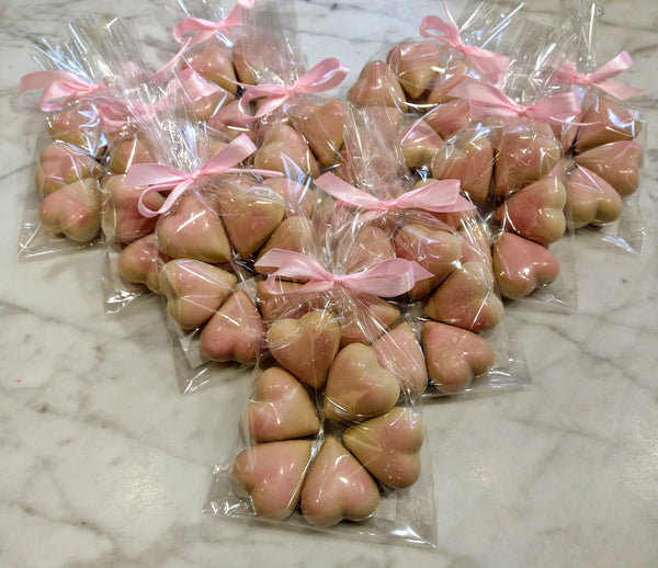 Caramel blush hearts in white chocolate
