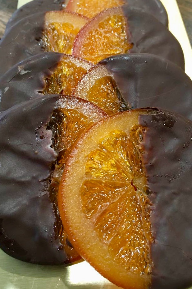 Caramelised orange slices dipped in dark chocolate (box of 10)