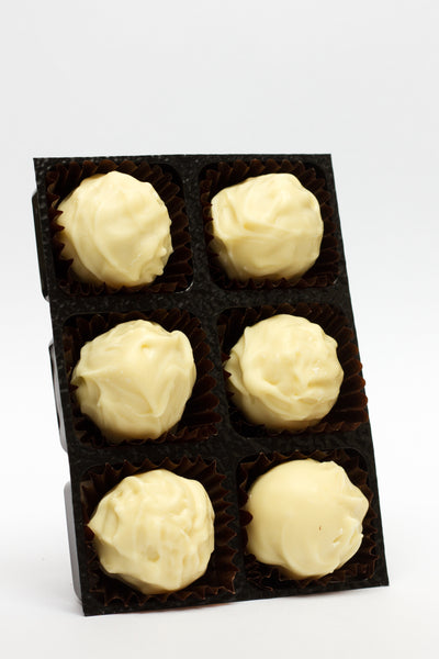 Champagne truffles in white chocolate