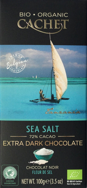Cachet Sea Salt Extra Dark chocolate bar