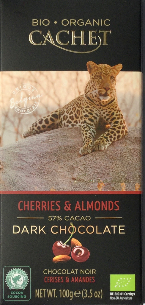 Cachet Cherries & Almonds dark chocolate bar