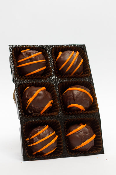 Orange truffles in dark chocolate