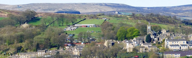 Haworth village with Top Withens in the distance