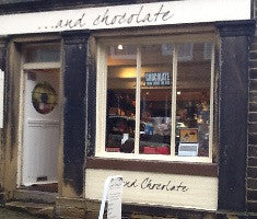 view of the chocolate shop on Haworth Main Street