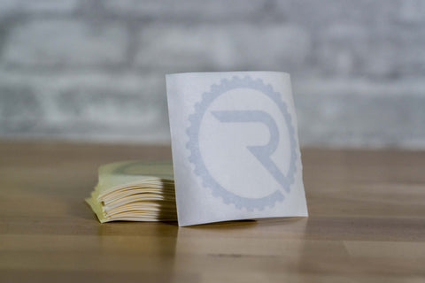 Geared R Decal - Reflective White
