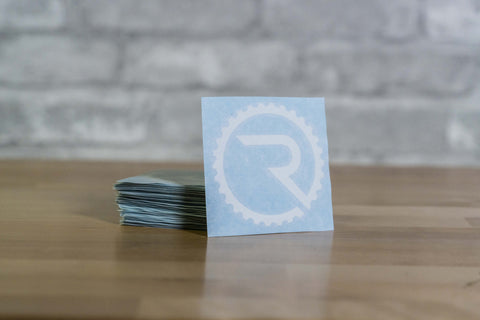 Geared R Decal - White