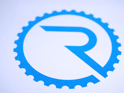 Geared R Decal - Reflective Blue