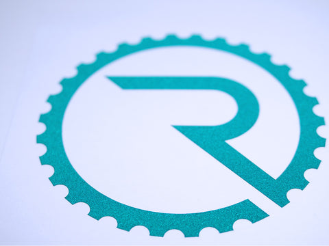 Geared R Decal - Reflective Green