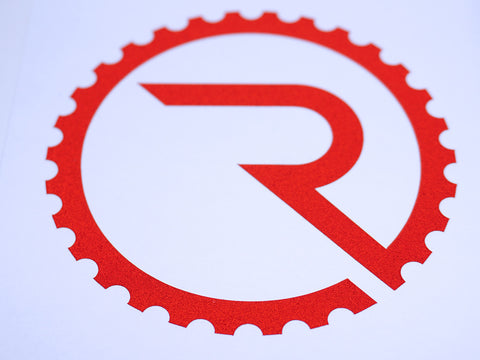 Geared R Decal - Reflective Red
