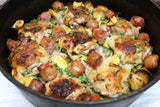 "One Skillet Chicken with Sweet Italian Sausage and Brussel Sprouts ""Kwaz Kan Cook"""