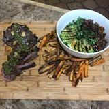 "Argentinian Chimichurri Steak with Oven Fries and Arugula Salad ""The Wife With A Knife"" Recipost"