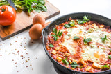 "Shakshuka (Savory Baked Eggs) and Spinach Orzo Vegetarian, MiddleEastern, Moroccan, brunch ""A Dancer's Plate"" Recipost"
