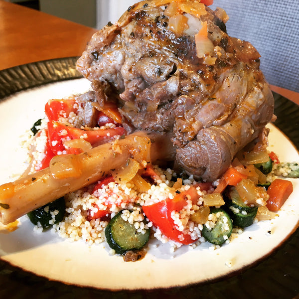Braised Lamb Shanks with Couscous and Zucchini Chef Papa