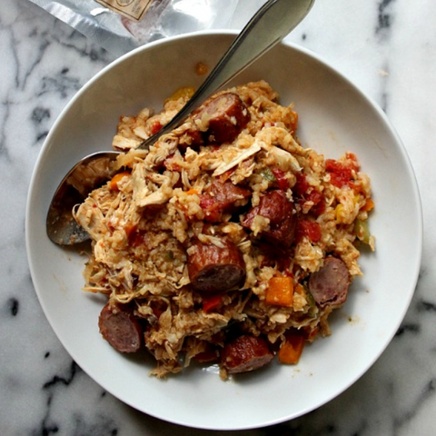 Cajun jambalaya with grilled sausage, chicken and shrimp.