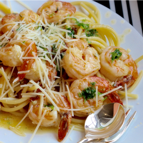 "Shrimp Scampi linguini wine Dinner ""Method to my meals"" Recipost Reciposter"