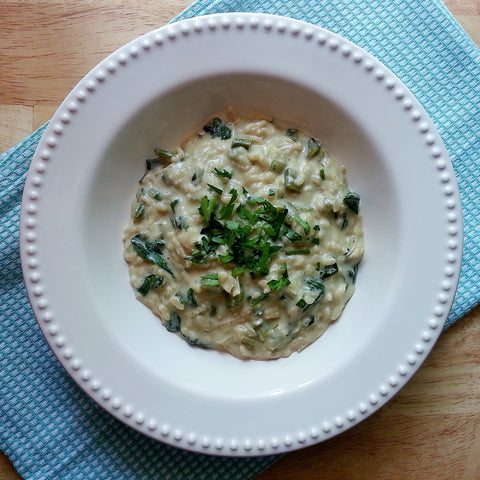 Vegan Artichoke and Spinach Risotto with Lemon Cashew Cream  Neat & Nutritious Vegan, Vegetarian, risotto, registereddietitian, RD