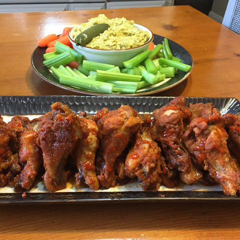 Sriracha Honey Wings with Jalapeno Hummus