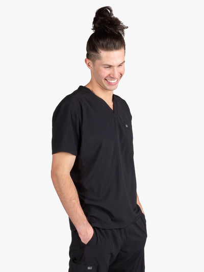 Men's Black Stretch Scrubs With Two Pockets