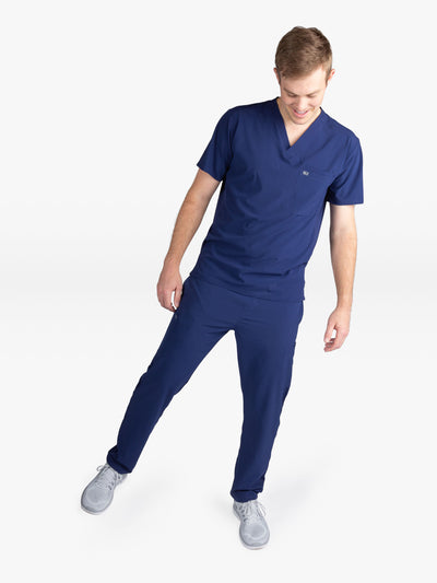 Men's Navy Blue Stretch Scrub Pants with Slim Fit
