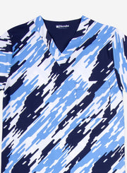 Men's Print Scrub Top Camo Pattern Detail in Navy Blue and ceil-blue